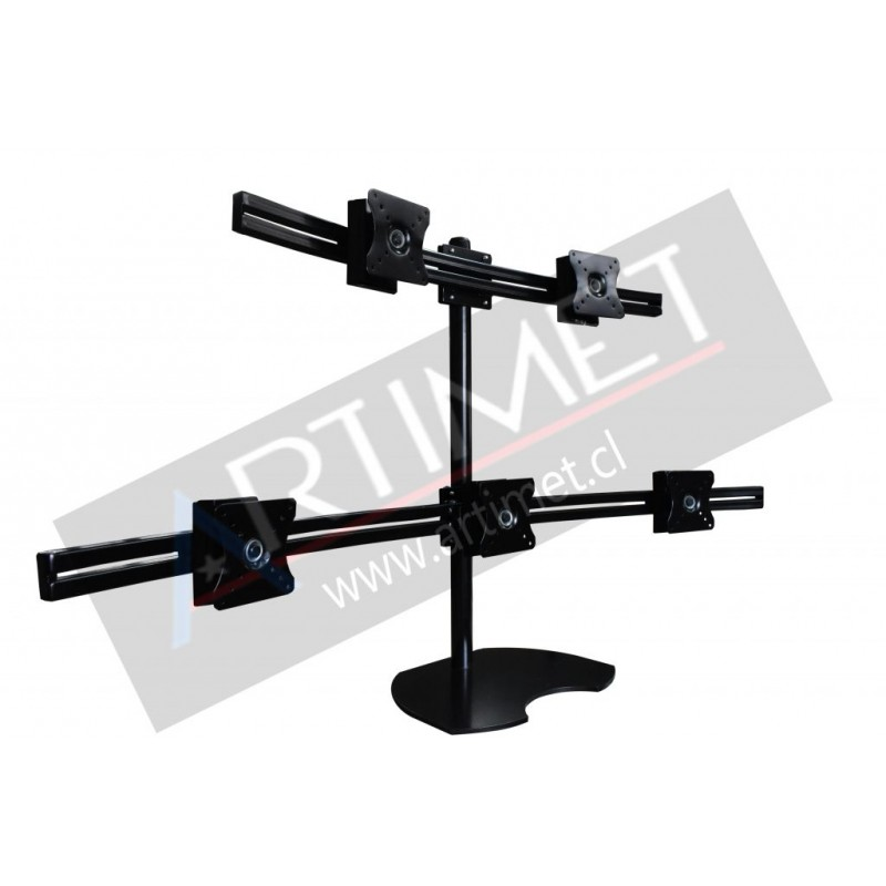 "Pedestal autosoportante para 5 LCD/LED hasta 24"""
